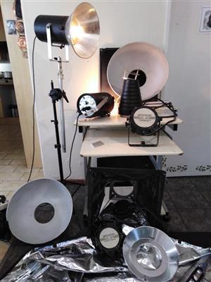 Photography studio lights and equipment