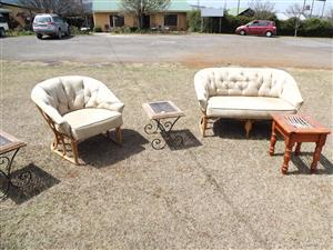 Cane and suede patio set