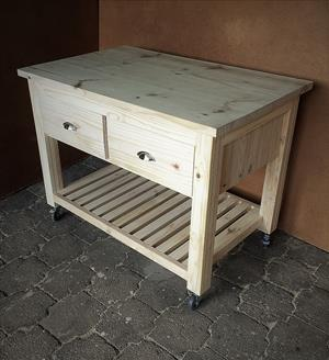 Kitchen Island Chunky Cottage series 1200 mobile with drawers - Raw