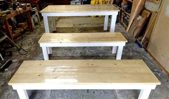 Beautiful Tables and Benches made to order.