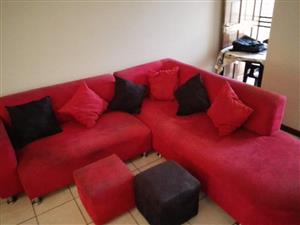 Red L-Shaped Couch with Ottomans & Cushions