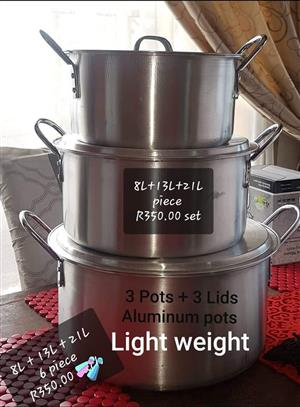 6 Piece aluminium pot set for sale