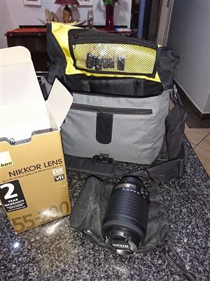 Camera Lense ONLY for Nikon camera. NIKKOR VR Zoom 55-200mm With camera bag. Make me an offer