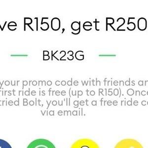 Bolt (Taxify) promo code worth R150: BK23G