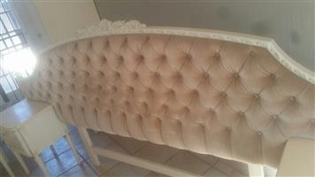 Victorian material headboard with side drawers