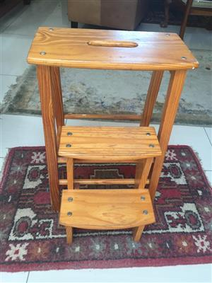 House of York Wooden Stool incorporating a 2-step Kitchen Ladder