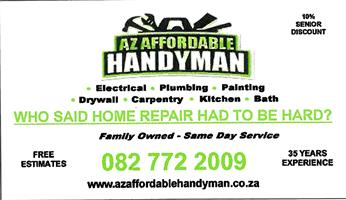 A-Z Affordable Handyman Nutsman Services Pretotia Centurion Home Renovations