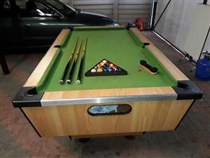 Pool table with balls,cues,brush and triangle