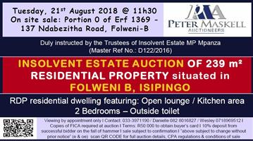 INSOLVENT ESTATE AUCTION OF 239 m² RESIDENTIAL PROPERTY situated in FOLWENI B, ISIPINGO