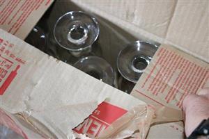 Box full of wine glasses