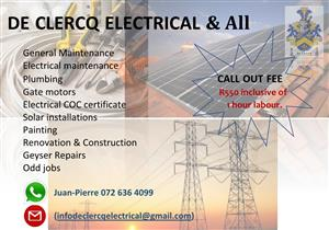 De Clercq Electrical & All - we do all jobs, big or small Gauteng area