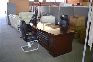 Large office desk with 3 high back leather chairs