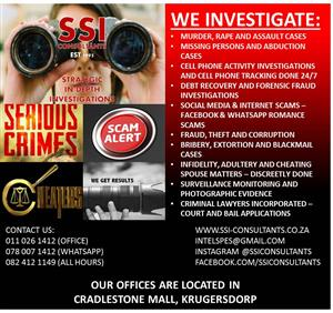 PRIVATE INVESTIGATORS@0780071412 GUARANTEED PROFESSIONALS 24/7 SSICONSULTANTS T/A STRATEGIC IN-DEPTH INVESTIGATIONS(EST.1995) HEAD OFFICE 0110261412 WHATSAPP 0780071412 ALL HOURS 08241211149 CREDIT CARDS ACCEPTED