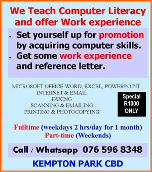 We train Microssoft Word, Excel, Powerpoint, Internet, Email & give work experience and work reference letter