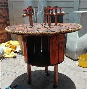 WOODEN BARREL WITH FAUCETS FOR SALE
