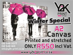Canvas print only R550 printed and stretched vat incl.