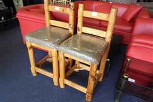 2x Wooden Bar Chairs