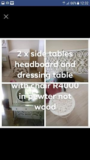 2 Side tables,headboard and dresser