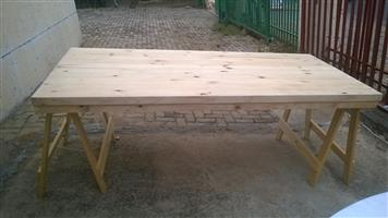NEW WOODEN TABLE TOPS WITH LEGS ON SALE NOW AT CRYSTAL CLEAR DECOR
