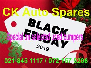 Black Friday  Special on selected used Bumpers for most vehicle makes and models.