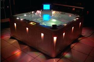 Hot Tub Dark Charcoal Jacuzzi with lights and suitable for 6 people.