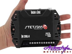 Stetsom Iron Line Micro Amplifier 70rms x 4  Number of Channels 4 RMS Power at 2 Ohm 13.8V 4 x 70W RMS 280W RMS