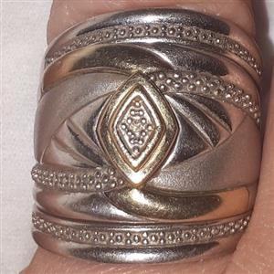 9.25 Silver and gold embedded 3pce wedding band ring set for sale