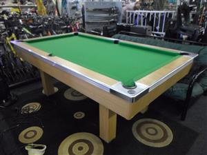 Wooden Pool Table + 3 Sticks and Set of Balls