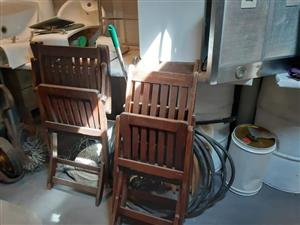 2 Wooden fold up chairs for sale