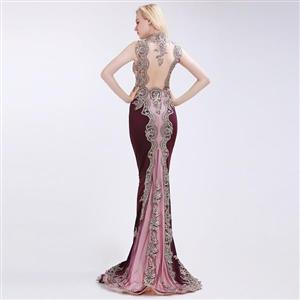 ELEGANT CLARET-RED PROM/EVENING DRESS WITH COURT TRAIN (SIZES 2-24)