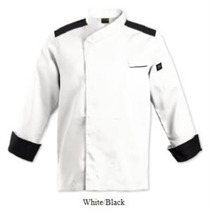 Roma Chef Jacket - White-Black