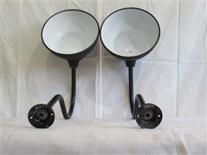 Pair of Vintage Enamel Metal Wall Lights (SKU 248)