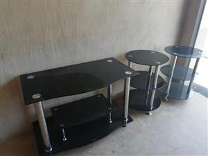 3 Piece glass tv stand unit