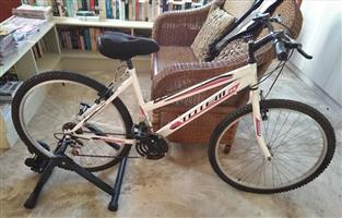 """Totem 26"""" bicycle and Raleigh indoor trainer."""