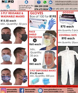 Masks - Gloves - Goggles - Coveralls - face shields - 3 ply masks