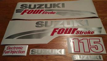 Suzuki 115 four stroke outboard motor cowl stickers decals vinyl graphics kits
