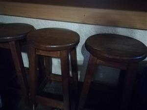 3 Wooden bar stools for sale