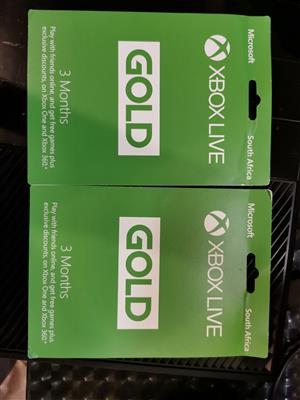 Xbox live gold 3 months R350 each