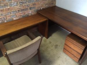 Office Desks x 2 , Draws and 2 x Chair Solid Wood, Executive