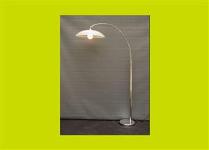 Cantilevered chrome light with large glass shade - SKU 100