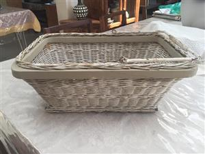 "Rustic limewashed wicker ""shopping"" type basket - great for decor ideas!"