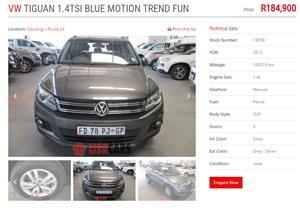 2012 VW Tiguan TIGUAN 1.4 TSI COMFORTLINE (92KW)