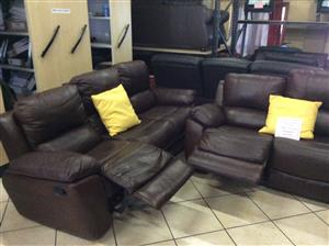 Upper leather recliner lounge suite for sale