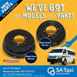 New 295 mm Brake Drum suitable for Toyota Quantum - SA Taxi Auto Parts quality spares