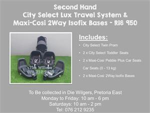 Second Hand City Select Lux Travel System and Maxi-Cosi 2Way Isofix Bases