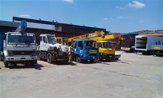 Cranes and trucks