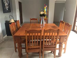 Oregon Pine 8-Seat Dining Table and Chairs