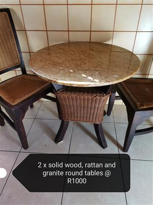 Solid wood, rattan and granite tables
