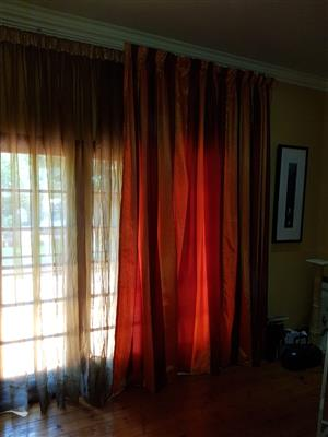 Orange Bedroom Curtains (276cm high x 208 wide) - set of two