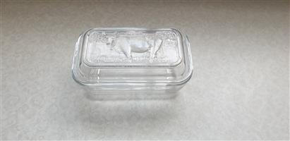 Butter Dish - Glass with Cow Print